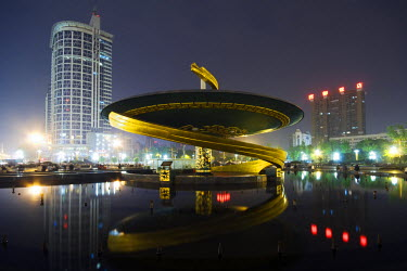 CH2676 China, Sichuan Province, Chengdu city. Spiral fountain monument