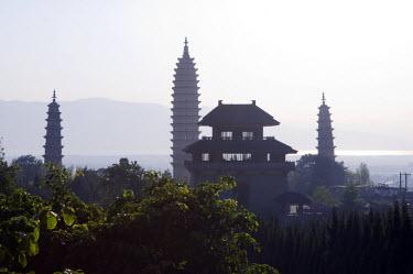 CH2706 China, Yunnan province, Dali Town. Three Pagodas at Chongsheng Temple
