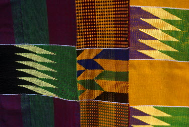 GHA0001 Ghana, Ashanti Region, Kumasi. Kente cloth, the traditional fine textile used for robes in Ghana.