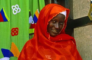 GHA0115 Ghana, Volta Region, Hohoe. A Muslim woman in Hohoe.