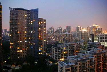 CH2987 China, Beijing. Apartment Block in a gated residential area in Beijing