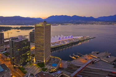 CA01056 Harbour & Canada Place Complex from LOOKOUT! Tower, Vancouver, British Columbia, Canada