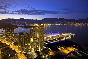 CA01060 Harbour & Canada Place Complex from LOOKOUT! Tower, Vancouver, British Columbia, Canada