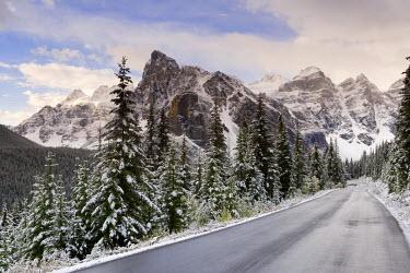 CA08093 Wenkchemna Peaks over Moraine lake in the snow, Banff-Jasper National Parks, Alberta, Canada
