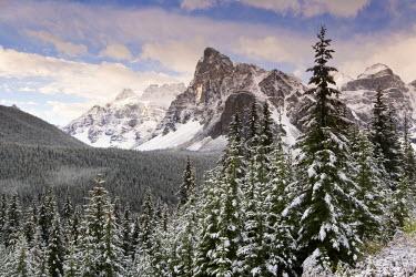 CA08094 Wenkchemna Peaks over Moraine lake in the snow, Banff-Jasper National Parks, Alberta, Canada