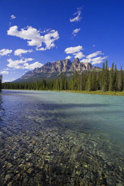 CA08155 Castle Mountain and Bow River, Banff National Park, Alberta, Canada