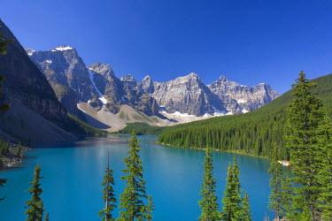 CA08173 Moraine Lake and Valley of 10 Peaks (Wenkchemna Peaks) at sunrise, Banff National Park, Alberta, Canada