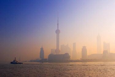 CN03048 Pudong skyline across the Huangpu River, Shanghai, China