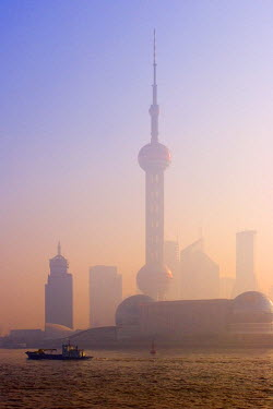 CN03049 Pudong skyline across the Huangpu River, Shanghai, China