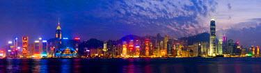 HK01141 Skyline of Hong Kong Island from Kowloon, Hong Kong, China