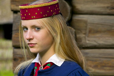 ET01067 Girl at Folk festival, Tallinn,  Estonia