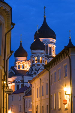 ET01073 Alexander Nevsky Church at Dusk, Tallinn, Estonia