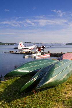 FN02044 Air Taxi, Canoes & Lake, Inari, Lemmenjoki National Park, Arctic Circle, Lapland, Finland