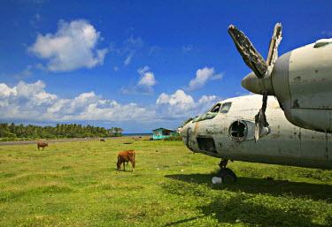 GN01012 Old Cuban aeroplane, Pearls Airport, Grenada, Caribbean