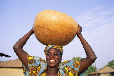TPX5350 African Woman Carrying Gourd on Head, Banjul, Gambia
