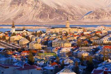 IC01040 View over Reykjavik in winter, Iceland