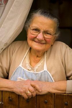 IT12026 Local Elderly Lady, Old Town, Alghero, Sardinia, Italy