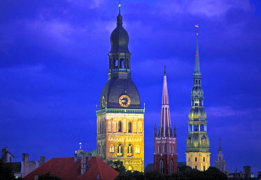 LV01025 Dome Cathedral, St. Peter's & St. Saviour's churches, Riga, Latvia