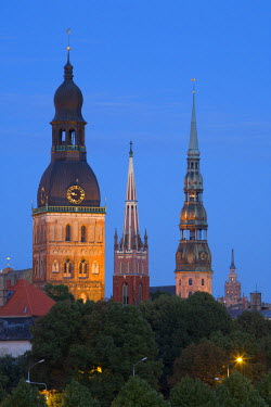LV01050 Dome Cathedral, St. Peter's, St. Saviour's Churches, Riga, Latvia