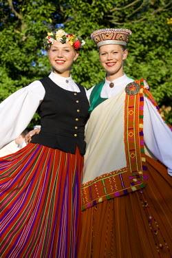 LV01051 Young Women in Traditional Folk Dress, Riga, Latvia, MR