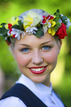 LV01052 Portrait of Young Woman in Traditional Folk Dress, Riga, Latvia, MR