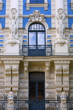 LV01058 Art Nouveau Style Architecture (Also Known as Jugendstil Architecture Designed by Mikhail Eisenstein), Riga, Latvia