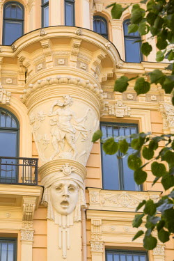 LV01059 Art Nouveau Style Architecture (Also Known as Jugendstil Architecture Designed by Mikhail Eisenstein), Riga, Latvia