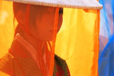 TPX8452 Japan, Tokyo, Portrait of Girl Dressed in Traditional Costume, Jidai Matsuri Festival, Sensoji Temple Asakusa