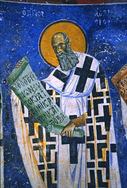 ME01003 St. Athanasius, bishop of Alexandria, fresco (1191), church of St. George in Kurbinovo, Macedonia