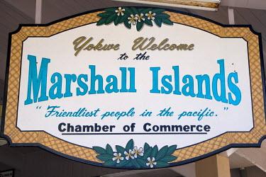 MH01040 Welcome Sign, Majuro Atoll, Marshall Islands