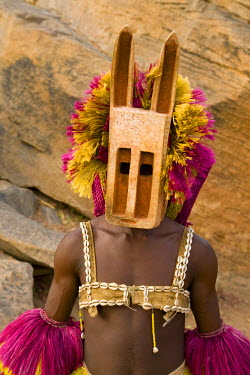 ML01026 Masked Ceremonial Dogon Dancers, Sangha, Dogon Country, Mali