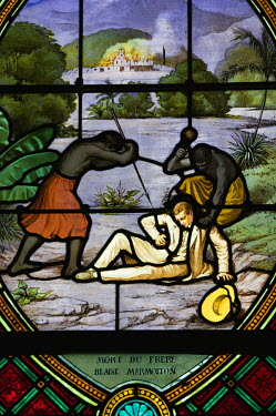 NC01075 New Caledonia, Northern Grande Terre Island, BALADE, stained glass window commemorating the first landing of Europeans in New Caledonia (12/21/1843) in the Church of St. Denis