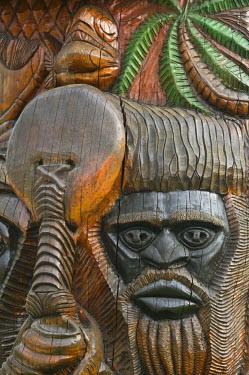 NC01101 New Caledonia, Grande Terre Island, Noumea, Polynesian Carving detail on the MWA KA totem Pole