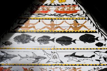 MI01014 Carving detail on the Museum Bai (traditional Palauan mens meeting house), Koror, Palau, Micronesia