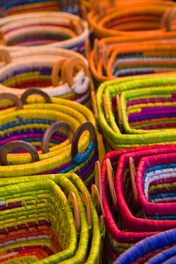 RE01052 Reunion Island, St-Pierre, Covered Market, Reunion-made bags for sale