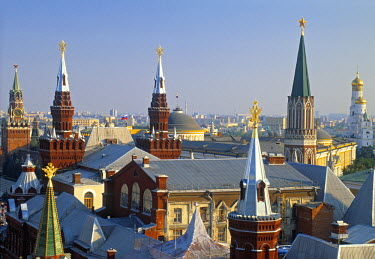 RU01254 Spires of State History Museum, Red square, Moscow, Russia