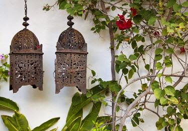 ES14043 Lanterns on wall, Betancuria, Fuerteventura, Canary Islands, Spain