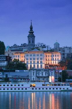 SB01035 Serbia, Belgrade, Danube River Cruiser and Stari Grad (Old Town) along Sava River