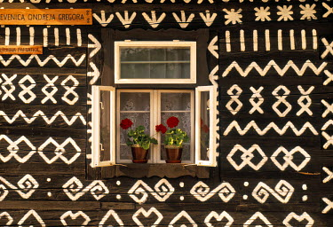 SK02018 Window of wooden built cottage, Cichany, Central Slovakia