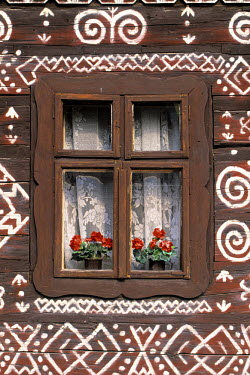SK02020 Window of wooden built cottage, Cichany, Central Slovakia