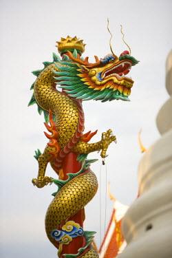 TH01164 Chinese Dragon, Golden Mount, Wat Saket temple, Bangkok, Thailand