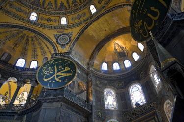 TK01156 Interior of Aya Sofia (Hagia Sophia) Mosque, Sultanhamet, Istanbul, Turkey
