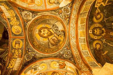 TK05084 Frescoes, rock-cut Byzantine Karanlik Kilise (Dark Church), Goreme Open Air Museum, Goreme, Cappadocia, Turkey
