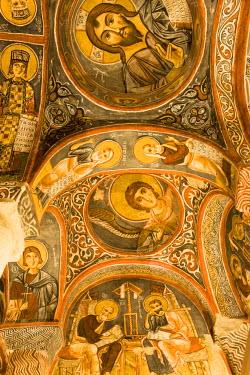 TK05085 Frescoes, rock-cut Byzantine Karanlik Kilise (Dark Church), Goreme Open Air Museum, Goreme, Cappadocia, Turkey