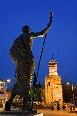 TK09172 Statue of Ataturk in front of the Clocktower and Tekeli Memet Pasa Mosque, Kaleici, Antalya, Turkey