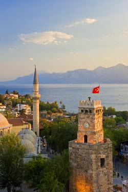 TK09196 Clocktower (Saat Kulesi), and Tekeli Memet Pasa Mosque, Kaleici, Antalya, Mediterranean Coast, Turkey