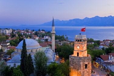 TK09197 Clocktower (Saat Kulesi), and Tekeli Memet Pasa Mosque, Kaleici, Antalya, Mediterranean Coast, Turkey