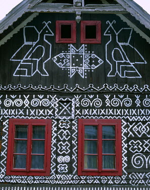 TPX3833 Traditional House Painting / Decorative Patterns, Cicmany, The Mountain Regions, Slovakia