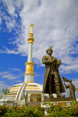 TR011RF Turkmenistan, Ashgabat, (Ashkhabad), Berzengi, Independance Park, The monument to the Independence of Turkmenistan