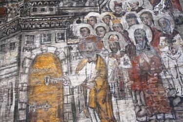 UA02020 Interior of wooden Dormition church (1656), Novoselitsa, Zakarpattia Oblast, Transcarpathia, Ukraine